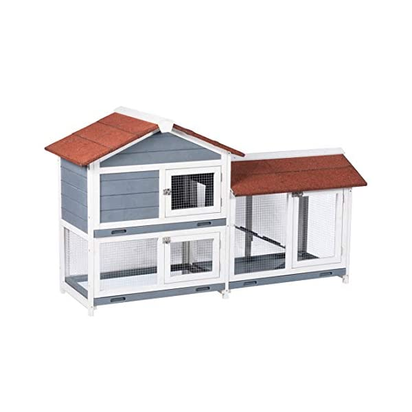 "Good Life Two Floors 62"" Wooden Outdoor Indoor Roof Waterproof Bunny Hutch Rabbit Cage Guinea Pig Coop PET House for Small to Medium Animals with Stairs and Cleaning Tray PET537 3"