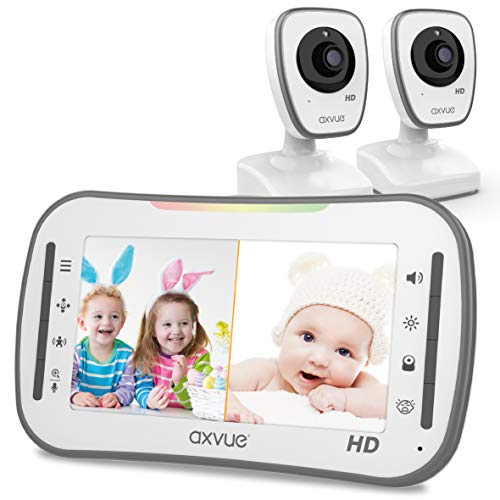 [HD] Video Baby Monitor, AXVUE 720P 5″ HD Display, IPS Screen, 2 HD Cams, 12-Hours Battery Life, 1000ft Range, 2-Way Communication, Secure Privacy Wireless Technology