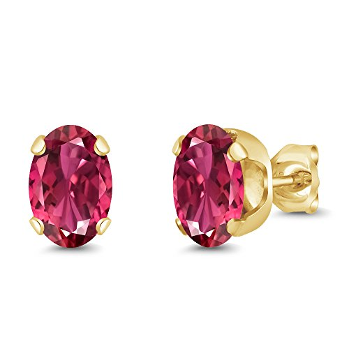 Gem Stone King 1.70 Ct Oval Shape Pink Tourmaline Yellow Gold Plated Silver Stud Earrings