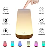 Meixx LED Bedside Lamp Bluetooth Speakers, Portable Wireless Night Light Lamp, Alarm Clock LED Table Lamp, Touch Control Color Dimmable, Stereo with Built-in Power Station,TF Card, 2000mA,USB (White)