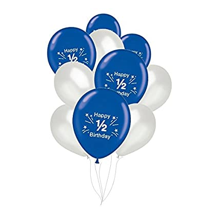 PrettyurParty Blue And Silver Half Birthday Latex Balloons Pack Of 10