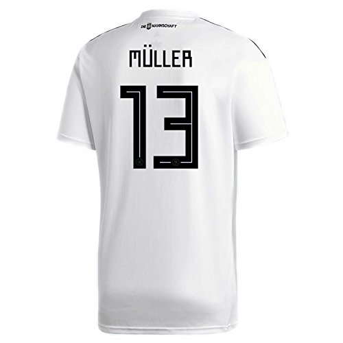 adidas Muller #13 Germany Home Soccer Stadium Men's S/S Jersey World Cup Russia 2018 (S)
