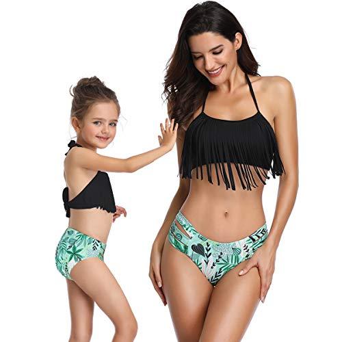 (ALYCASO Girl Tassel Bikini with Printing Cutout Bottom Hanging Neck Straps Halter Back Tie Two Piece Swimsuit, Black, 128 cm)