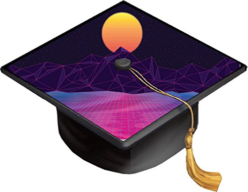 Sunset Over Digital Mountain Range Design Grad Cap Decal - Vinyl Sticker Skin for Graduation Caps]()