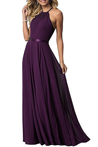 - Women's Sleeveless Halter Bridesmaid Dresses Chiffon Flowy Maxi Evening Party Gownss (Plum,14)