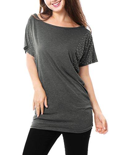 Ladies Scoop Neck Rhinestone Tee (Allegra K Ladies Batwing Tops Rhinestone Tunic Scoop Neck T Shirt Dark Grey S)