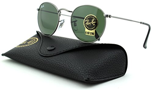 Ray-Ban RB3447 Round Metal Unisex Sunglasses (Matte Gunmetal Frame/Crystal Green Lens 029, - Rb3447 Metal 50 Round