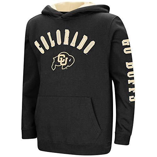 Colorado Youth Fleece Pullover - Colosseum NCAA Youth Boys-Crunch Time-Hoody Pullover-Colorado Buffaloes-Black-Youth Large