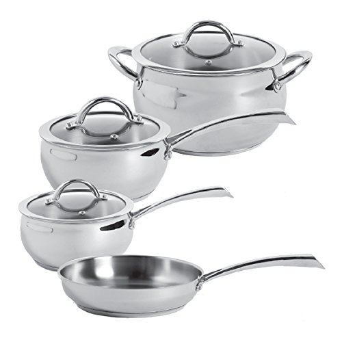 Oster 104392.07 Derrick 7-Piece Stainless Steel Cookware Set, Multi-Size, Stainless Steel (7 Piece Oster)