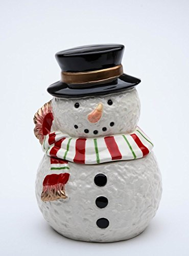 Cosmos Gifts 56545 Ceramic Christmas Holidays Snowman Wearing Scarf Candy Box Jar ()