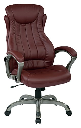 Office Star Bonded Leather Executive Manger's Chair with Titanium Coated Accents, Wine