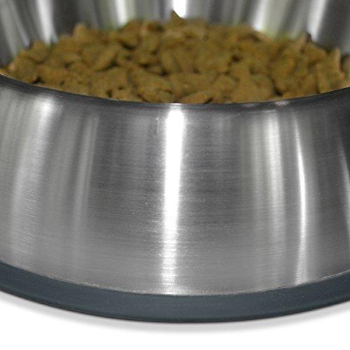 [NEW] PetFusion Premium Brushed Anti-tip Dog & Cat Bowls, Set of 2. [FOOD GRADE SS, Bonded silicone ring]