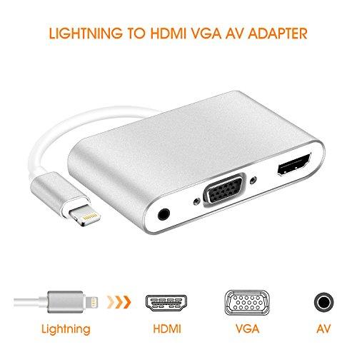 (Lightning to HDMI VGA Adapter, lightning digital av adapter 4 in 1 HDMI/VGA/Audio/Video lightning Adapter Converter Plug & Play on HD TV Projector 1080P for iPhone, iPad, iPod,iPhones)