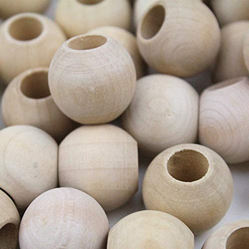 XuBa 25 MM10 MM 100 pcs Kids Toy DIY Wood Beads Unfinished Chunky Round Natural Preschool Brinquedos Juguets Show