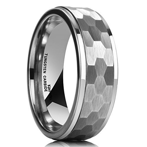 King Will HAMMER 8mm Silver Tungsten Ring Hammer Comfort Fit Faceted Men Wedding Band Polished Step Edge - Wedding Fit Band Comfort Hammered