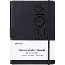 "Planner 2019 – Academic Weekly, Monthly and Year Planner with Pen Loop, to Achieve Your Goals & Improve Productivity, Thick Paper, Inner Pocket, 5.75"" x 8.25"", Black"