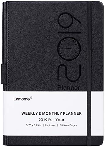 Planner 2019 – Academic Weekly, Monthly and Year Planner with Pen Loop, to Achieve Your Goals & Improve Productivity, Thick Paper, Inner Pocket, 5.75' x 8.25', Black
