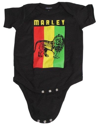 Bob Marley - Infant Flag Lion Creeper Onesie, 6, Black