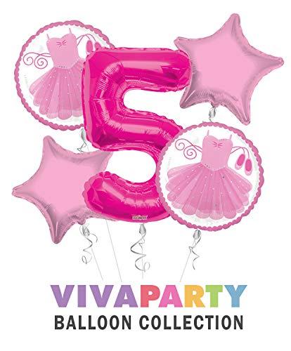 Ballerina Tutu Happy Birthday Balloon Bouquet 5 pc, 5th Birthday,   Viva Party Balloon Collection ()