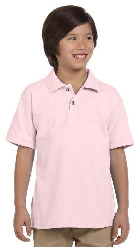 Harriton Youth 6 oz. Ringspun Cotton Piqué Short-Sleeve Polo L Blush by Harriton