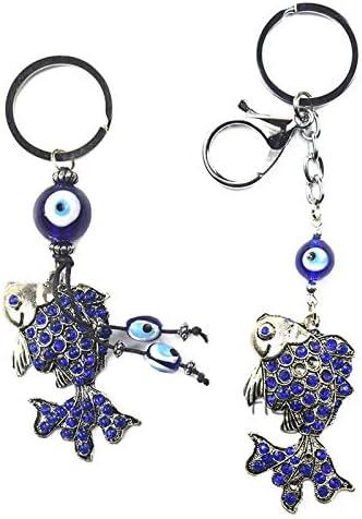 Llavero de pez dorado con diamantes de imitación de ojo malvado azul turco, llaveros, soporte de anillo, amuletos, colgante de amuleto de la suerte, regalo de bendición Combo 2 pcs