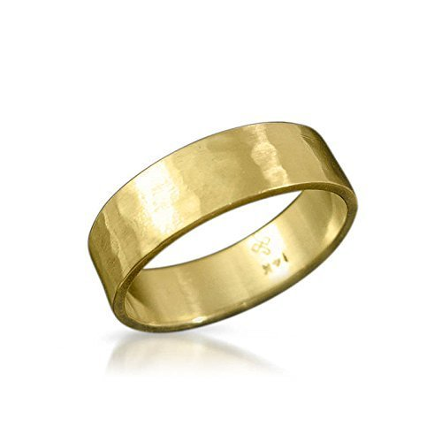 7313f60a1ae56a Wide Solid Gold Classic Flat and Wide Hammered Wedding Band for Men and  Women in 5 mm, Artisan Handmade 18k Yellow, White or Rose Gold Jewelry in  Sizes ...