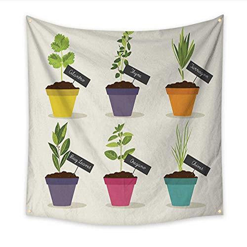 (Anniutwo Feminine Tapestry Herb Garden with pots of Herbs Set Living Room Bedroom Dorm Decor 47W x 47L)