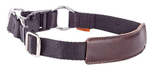 Dingo Comfortable Dog Collar Handmade Fabric and Soft Leather Black with Brown Insert 15011