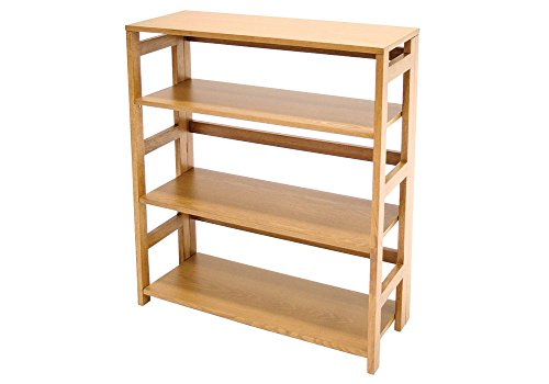 Wood Three-Shelf Folding Bookcase Dimensions: 29.5