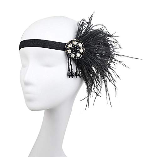MATCHANT Retro Headband Ceremony Ball Headpiece Black and White Feathers Famous Family Style Pearl Tassel Hanging Hair Band (Color : Black) -