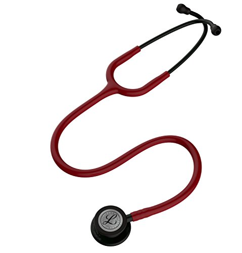 3M Littmann Classic III Monitoring Stethoscope, Black-Finish Chestpiece, stem and headset, Burgundy Tube, 27 inch, 5868