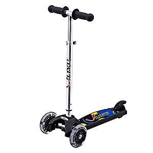 LIYU立宇 Mini Kick Scooters 3 Wheel with Flashing Wheel for Age 2-5 Children (Black)