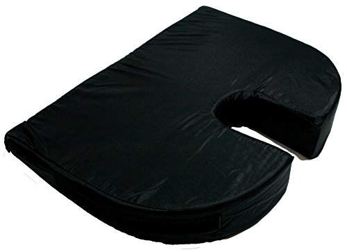 RelaxoBak Deluxe Dual Layer Orthopedic Wedge Seat Cushion with Machine Washable Cover - Alleviates Pressure and Pain from Coccydynia, Sciatica and Hip Pain (Black Nylon)