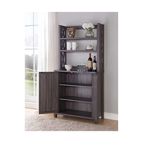 Furniture of America Schuetz Farmhouse Wood Rectangle Kitchen Cabinet in Gray