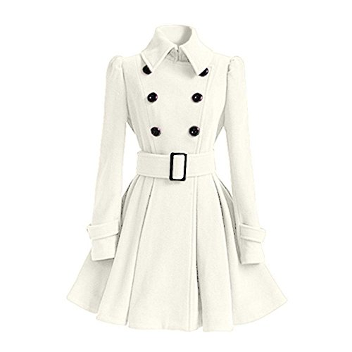 niceEshop(TM) Women's Stand Collar Double-breasted Wool Trench Coat