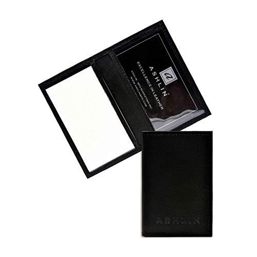 Ashlin Genuine Leather Double ID Holder. Drivers License|MetroPass| Mini-Wallet| Black [7503-07-01]