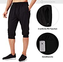 NAVISKIN 3/4 Pantalones Capri de Fitness para Hombre Pirata Pants Atléticos Deportivos Correr Térmicos Chándal Deporte Yoga Running Entrenamiento ...