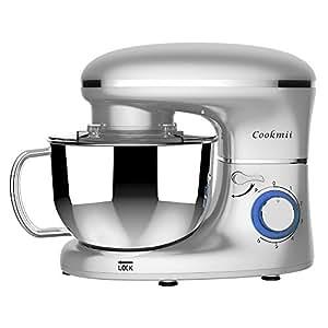 Cookmii Batidora Amasadora, Amasadora de Bajo Ruido, Robot de Cocina Multifuncional, Amasadoras de Pan, Batidora Eléctrica de 6 Velocidades con ...