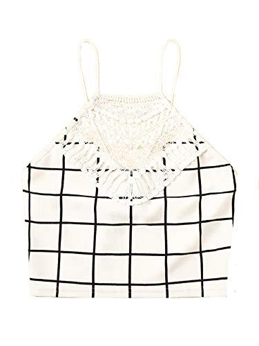 - Milumia Women Guipure Lace Applique Grid Halter Top Crop Cami Vest White-2 S