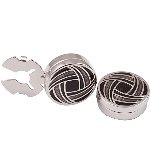 H&H HJ Men's Jewelry Cuff Link Round Button Cover Color Gray and Black