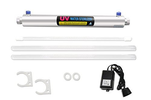 BAOSHISHAN UV Water Sterilizer Ultraviolet Light Sterilizer 12GPM UV Disinfection System for Purification Pond - 55w Cylinder