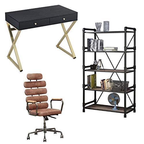 Caitlin 3 Piece Office Set Writing Desk with Office Chair and Bookcase
