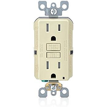 Leviton GFTR1-3I SmarTest Self-Test SmartlockPro Slim GFCI Tamper-Resistant Receptacle with LED Indicator (3 Pack), 15-Amp, Ivory
