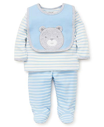 Little Me Baby Boys Lap Shoulder Set with Bib, Teddy Blue Bell/Marshmallow/Soft Heather Grey, Newborn -