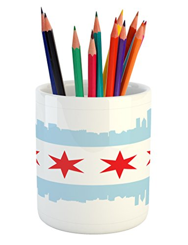 Ambesonne Chicago Skyline Pencil Pen Holder, City of Chicago Flag with High Rise Buildings Scenery National, Ceramic Pencil Holder for Desk Office Accessory, 3.6
