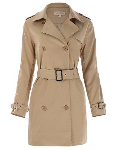 Casual Polyester Women Long Trench Coat Jacket with Pocket Size S Khaki KK469-1