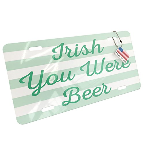Metal License Plate Irish You Were Beer St. Patrick's Day Simple Light Green Stripes - Neonblond (Light Irish Beer)
