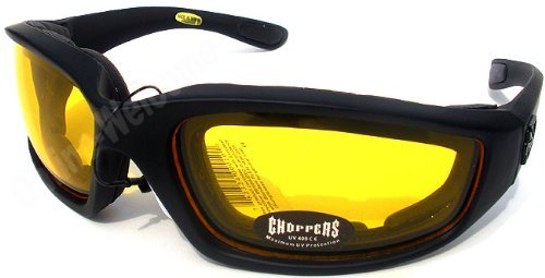 Night Driving Riding Padded Motorcycle Glasses 011 Black Frame with Yellow - Motorcycle Yellow Glasses