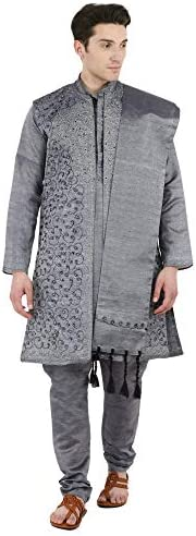 SKAVIJ Men's Embroidered Kurta Pajama, Jacket, and Scarf Weddeng Party Dress