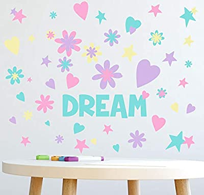 Dream Word Flowers, Hearts, Stars Girls Wall Decals [136] Piece Pastel Kids Room Decor Stickers, Nursery,Toddler, Teen Peel & Stick Kids Room Decor